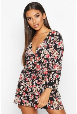 Black Dark Floral Wrap Front Playsuit