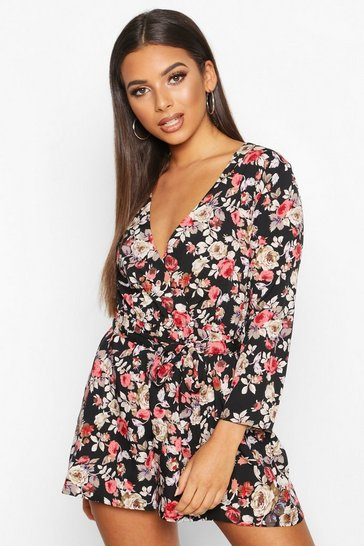 Womens Black Dark Floral Wrap Front Playsuit