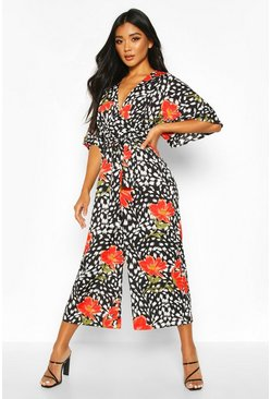 Womens Black Mixed Print Culotte Jumpsuit