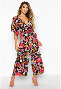 Womens Black Bright Floral Culotte Jumpsuit