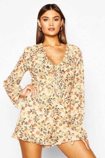 Womens Nude Chiffon Ruffle Floral Playsuit