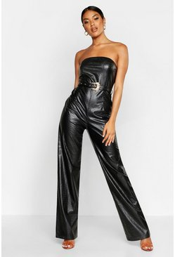Black Croc Faux Leather Bandeau Jumpsuit