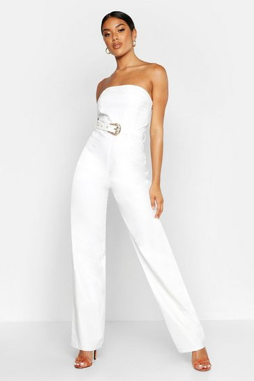 Womens White Croc Leather Look Bandeau Jumpsuit