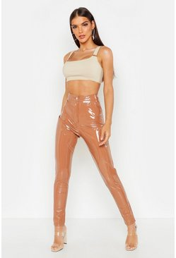 High Waisted Vinyl Skinny Trousers, Caramel, Donna