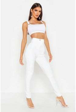 High Waisted Vinyl Skinny Trousers, White, Donna