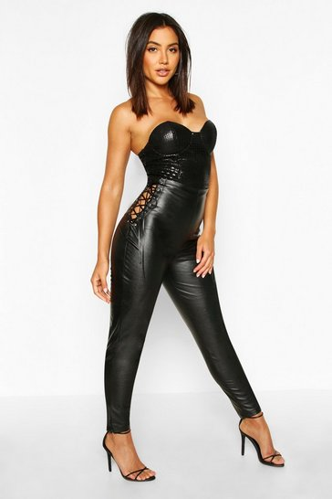 Womens Black High Waisted Leather Look Trousers