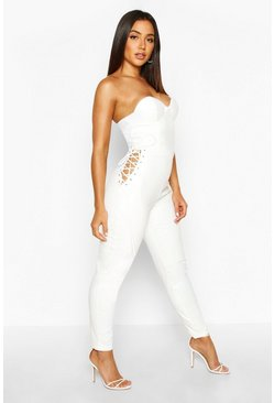 White High Waisted Leather Look Trousers