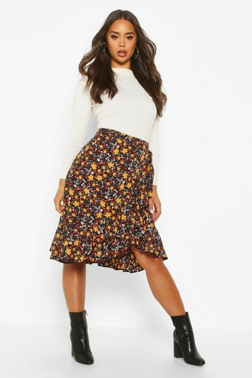 Black Retro Ditsy Wrap Ruffle Skirt