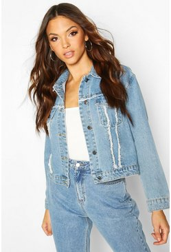 Womens Mid blue Frayed Denim Jacket