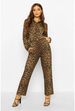 Denim Leopard Boilersuit, Brown, Donna
