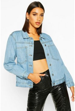 Womens Blue Pocket Detail Oversize Denim Jacket