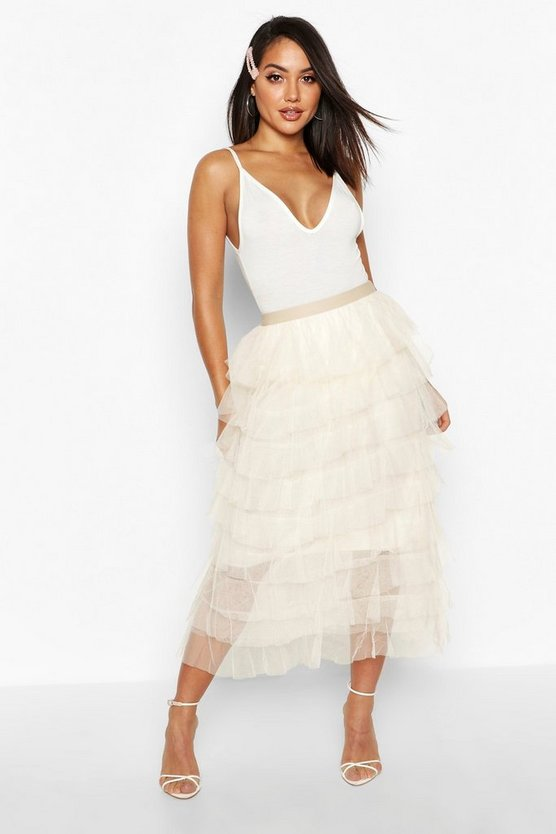 Beige Layer Tulle Midi Skirt