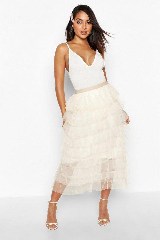 Layer Tulle Midi Skirt