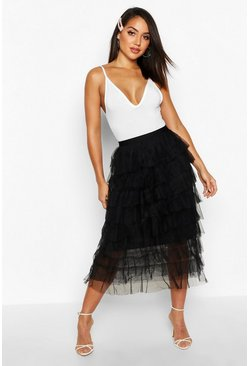 Womens Black Layer Tulle Midi Skirt