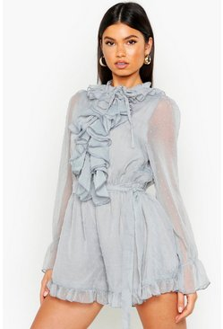 Womens Blue Dobby Mesh Ruffle Front Playsuit