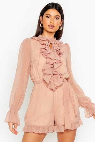 Nude Dobby Mesh Ruffle Front Playsuit