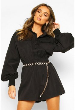 Womens Black Cotton Twill Utility Playsuit