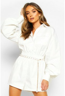 Womens Ivory Twill Utility Playsuit