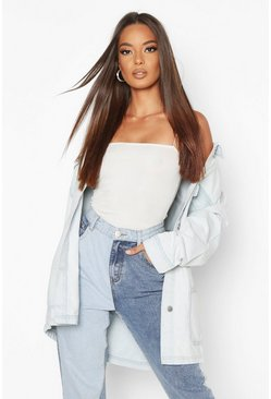 Womens Light blue Bleach Pocket Denim Jacket
