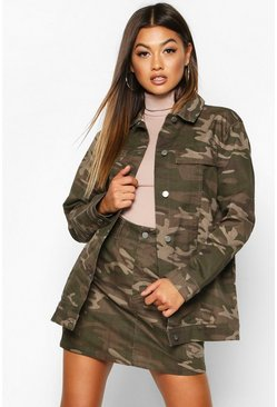 Washed Camo Denim Jacket