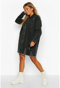 Womens Black Distressed Denim Shirt Dress