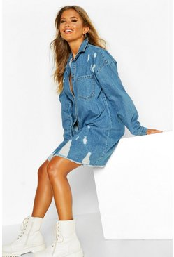 Womens Mid blue Distressed Denim Shirt Dress