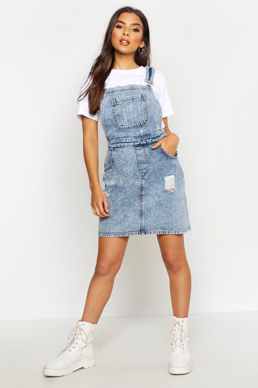 cheap prices on sale online professional design Acid Wash Distressed Denim Pinafore Dress | Boohoo