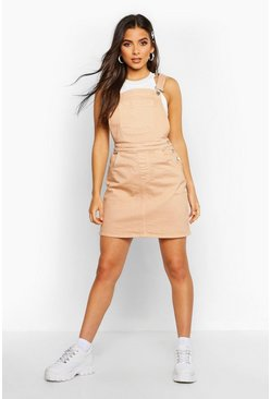 Nude Denim Pocket Front  Pinafore Dress