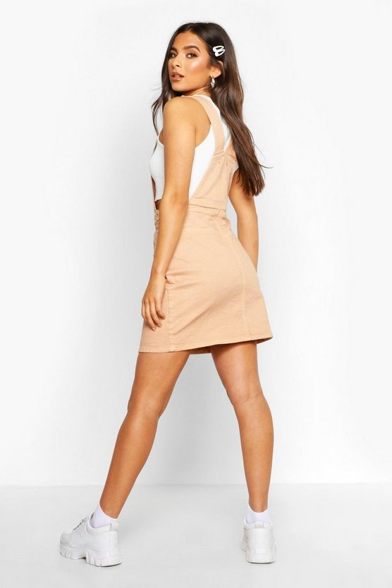 Denim Pocket Front  Pinafore Dress