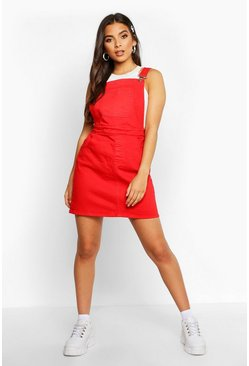 Red Denim Pocket Front  Pinafore Dress