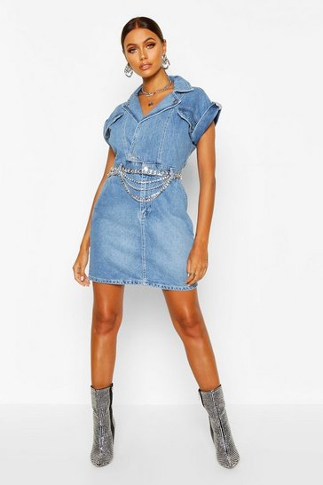 Womens Indigo Belted Double Breasted Denim Dress