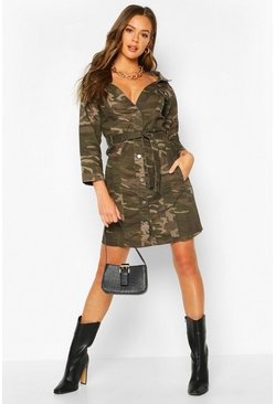 Womens Camo Off The Shoulder Belted Denim Dress