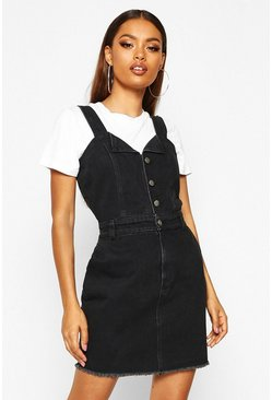 Womens Washed black Button Detail Denim Bodycon Dress