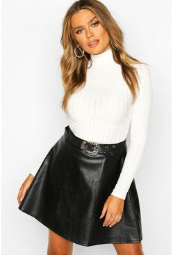 Womens Black Western Buckle Belted Leather Look Skater Skirt