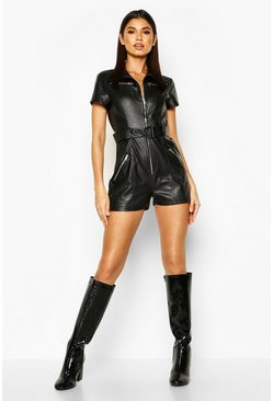 Womens Black Utility Faux Leather Playsuit