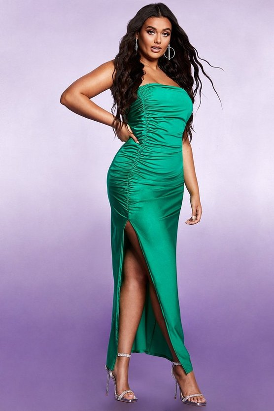 Womens Emerald Ruched Side Split Bandeau Maxi Dress