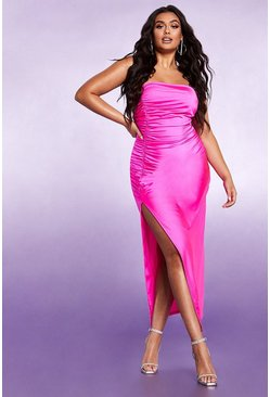 Womens Fuchsia Ruched Side Split Bandeau Maxi Dress