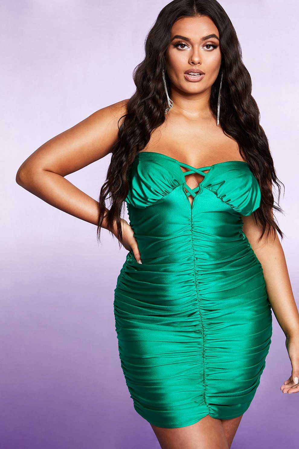 bcf8f49ff08f1c Womens Emerald Lace Up Detail All Over Ruched Dress. Hover to zoom
