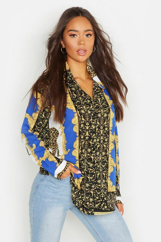 Womens Cobalt Scarf Printed Oversized Shirt