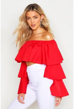 Womens Red Cotton Ruffle Bardot Top