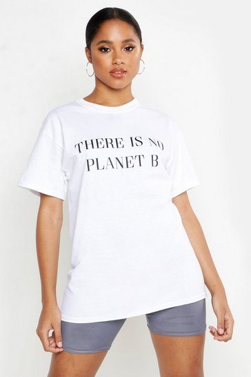 Womens White No Planet B Slogan T-Shirt