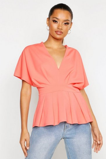Womens Apricot Peplum V Neck Top
