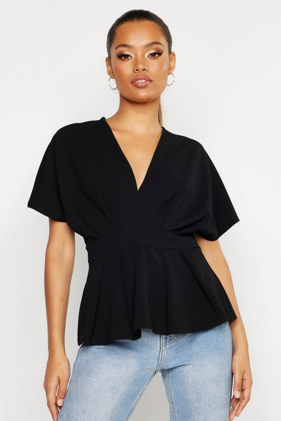 Womens Black Peplum V Neck Top