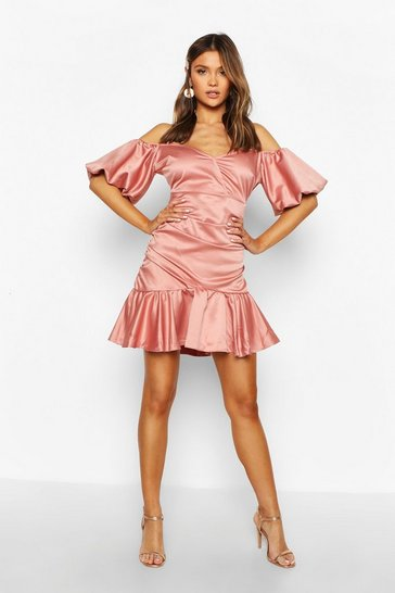 Womens Rose Volume Sleeve Rouched Skirt Satin Dress