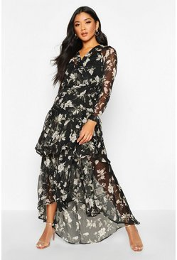 Womens Black Floral Print Belted Ruffle Maxi Dress