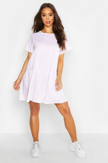 Womens Pink Stripe Flute Sleeve Smock Dress
