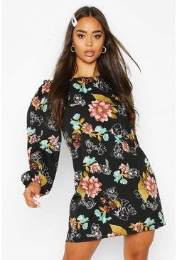 Black Floral Ruffle Detail Shift Dress
