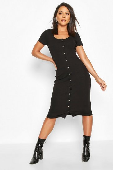 Womens Black Rib Popper Short Sleeve Midi Dress