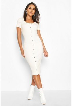 Womens Ecru Rib Popper Short Sleeve Midi Dress