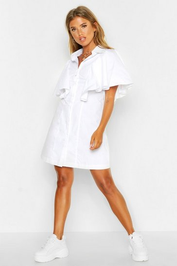 Womens White Woven Ruffle Detail Shift Dress